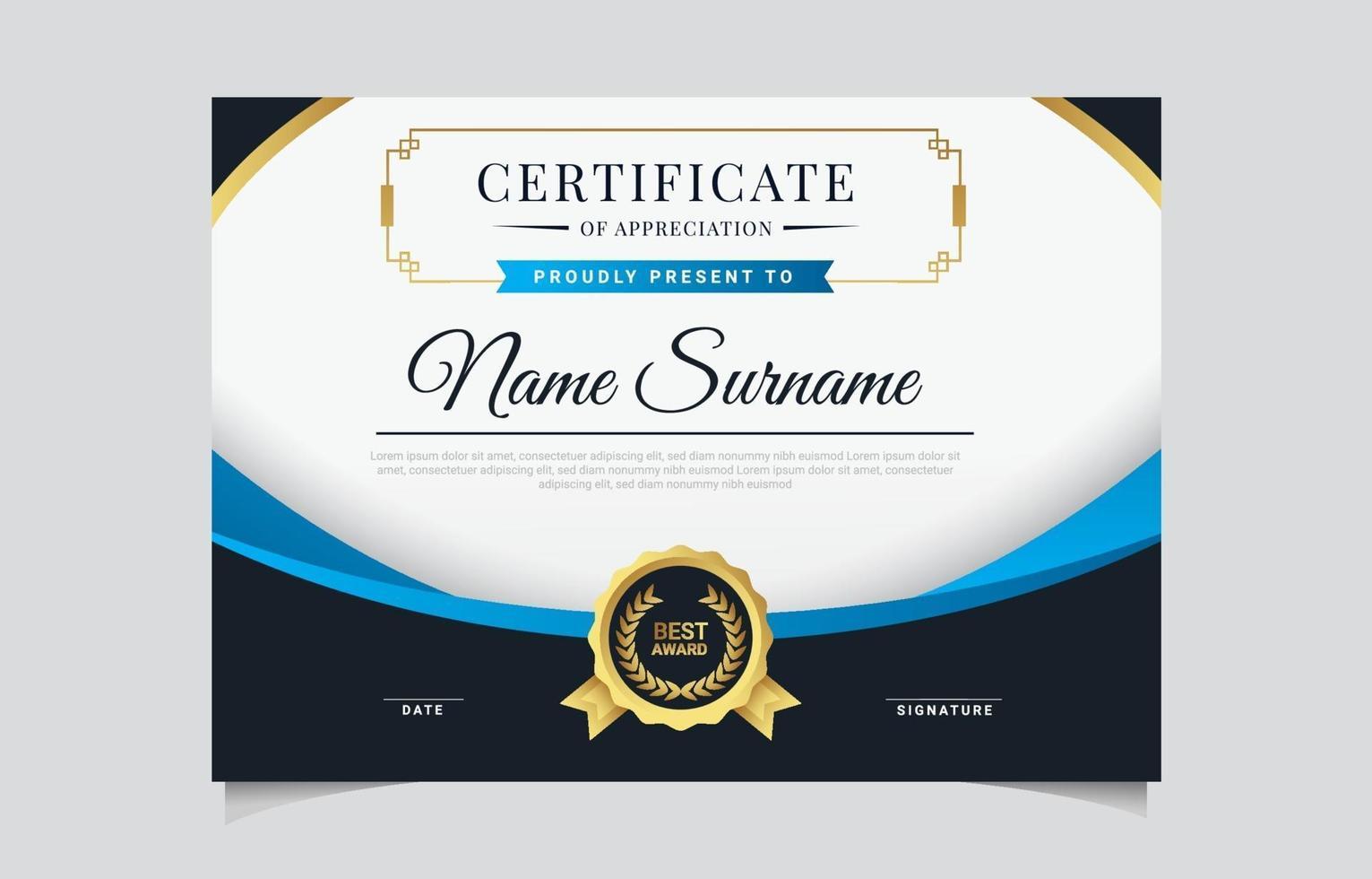 Modern Elegant Certificate Template vector