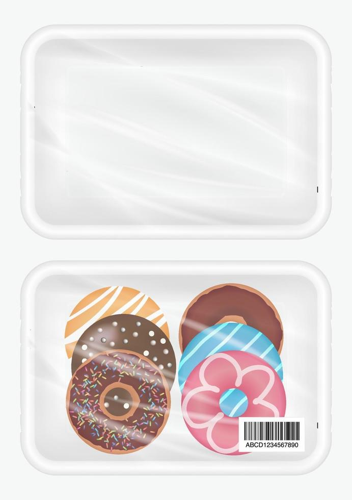 Download Top View Of White Polystyrene Packaging Mockup With Donut Inside 2317866 Vector Art At Vecteezy