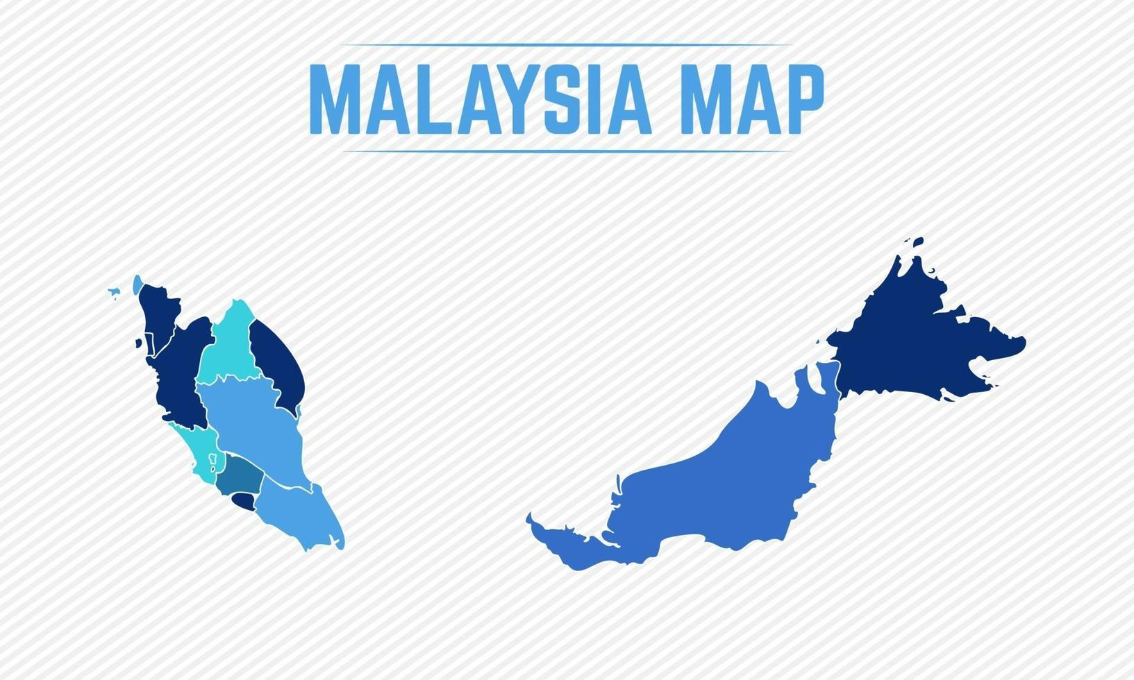 Malaysia Detailed Map With Regions vector