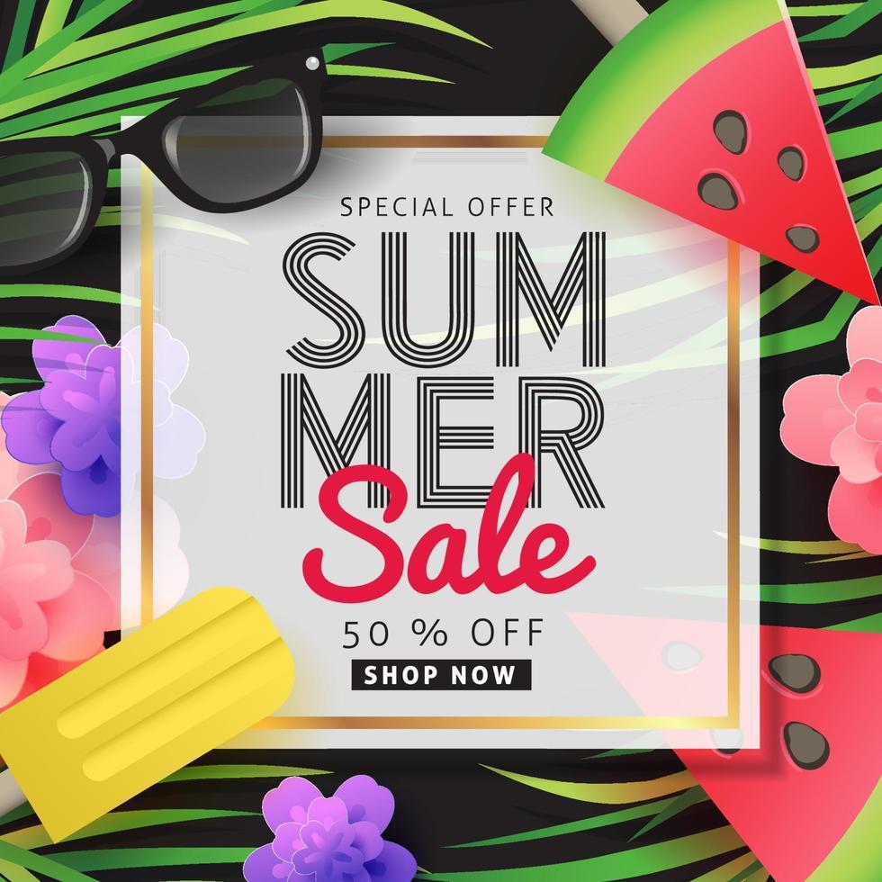 Summer sale poster banner background template vector