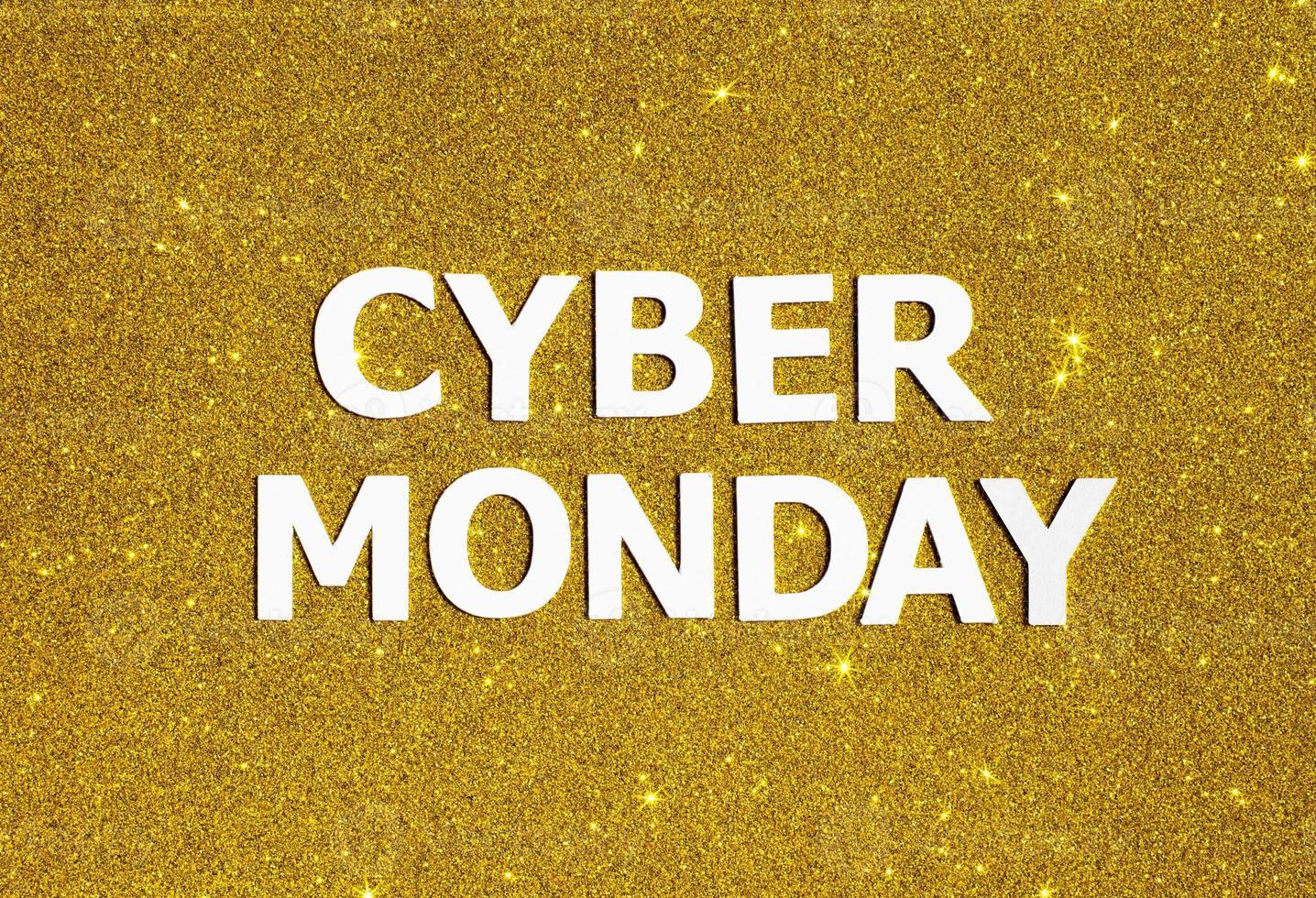 Top view golden glitter cyber Monday photo