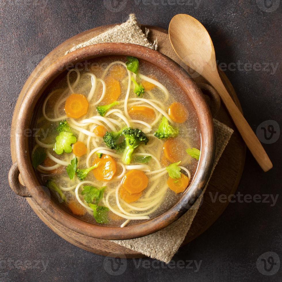 Top view noodle soup bowl photo