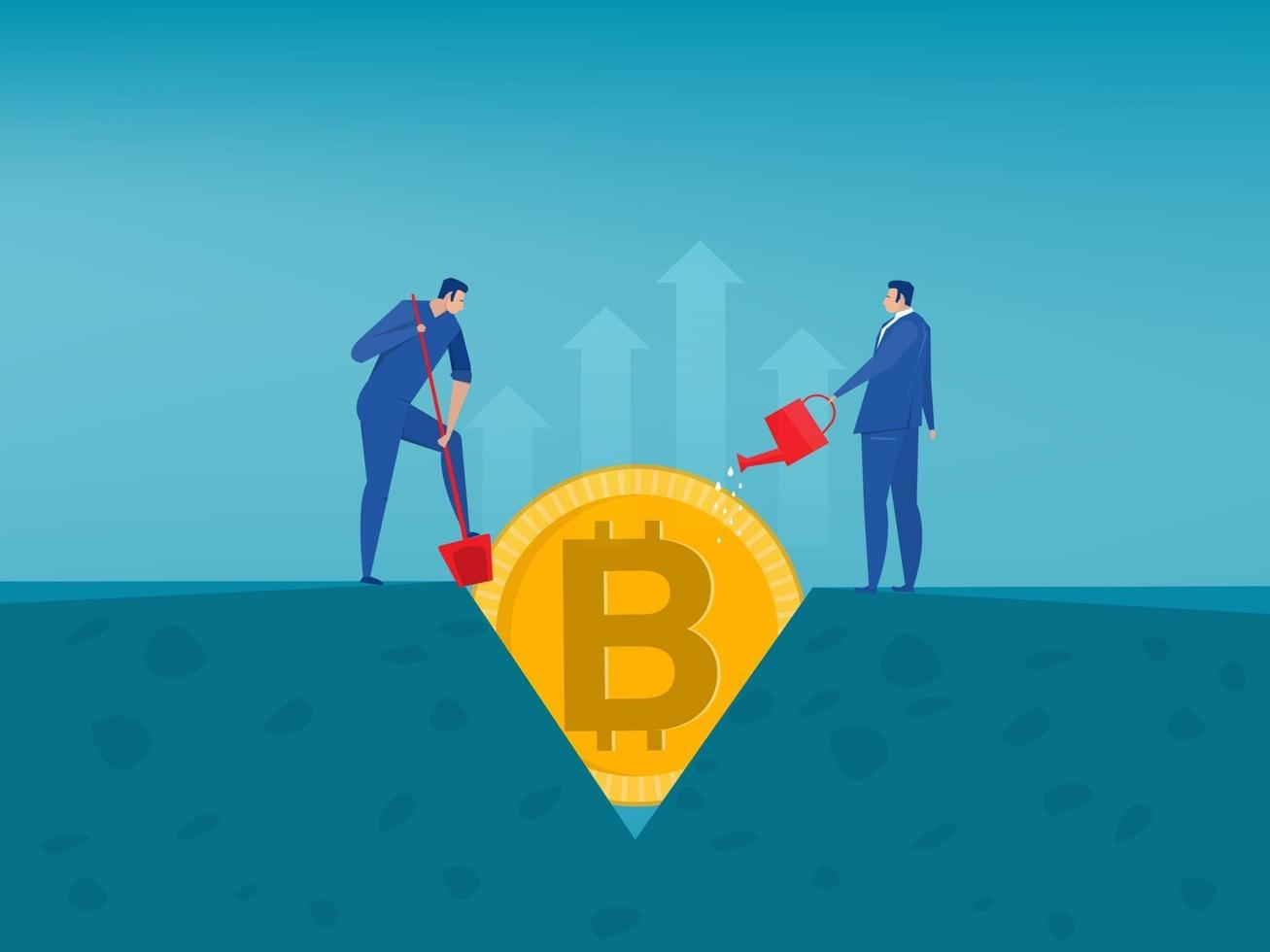 Man watering Bitcoin and making it grow. Crypto-currency, bitcoin concept Vector illustration in flat style.