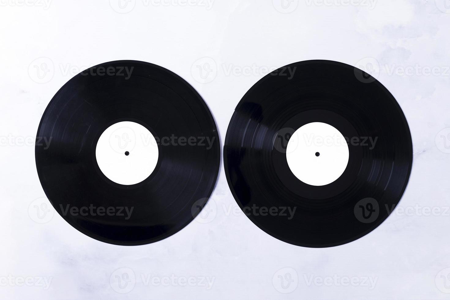 Top view vinyl disks photo