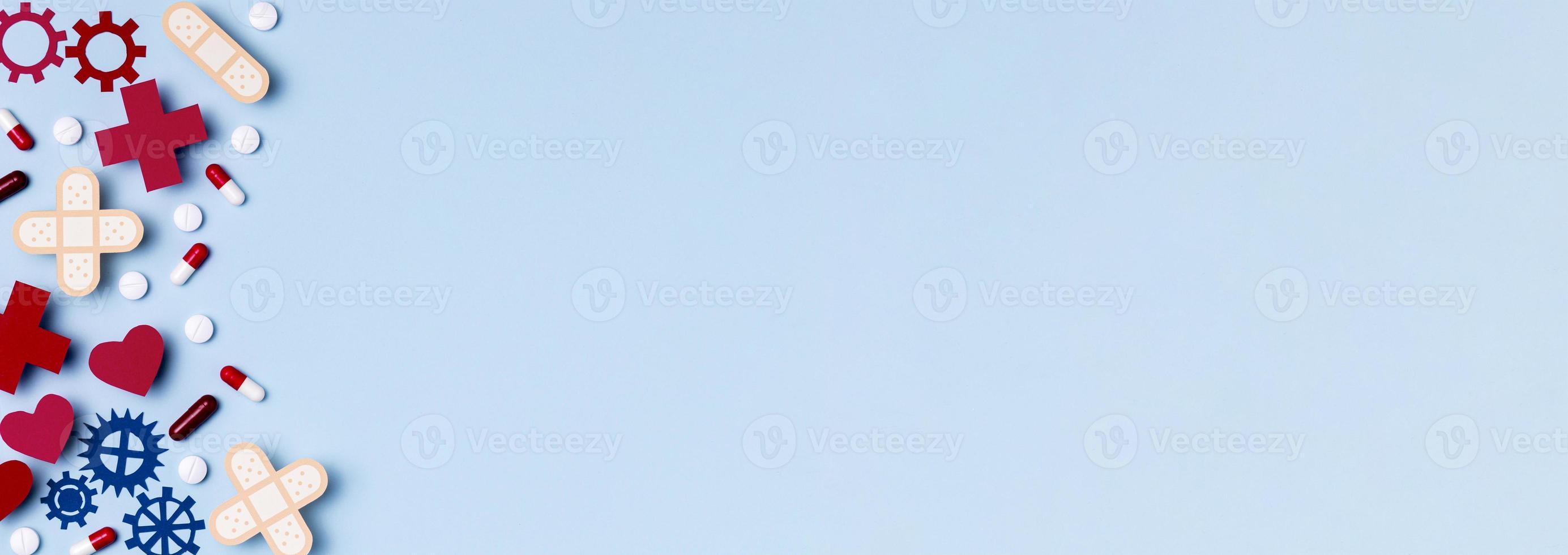 vista superior del día mundial del corazón con espacio de copia foto