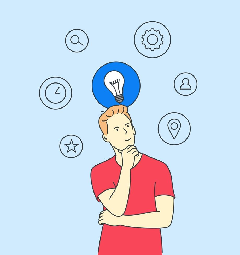 Thinking, idea, search, business concept. Young man or boy, thought choose decide dilemmas solve problems finding new ideas. vector