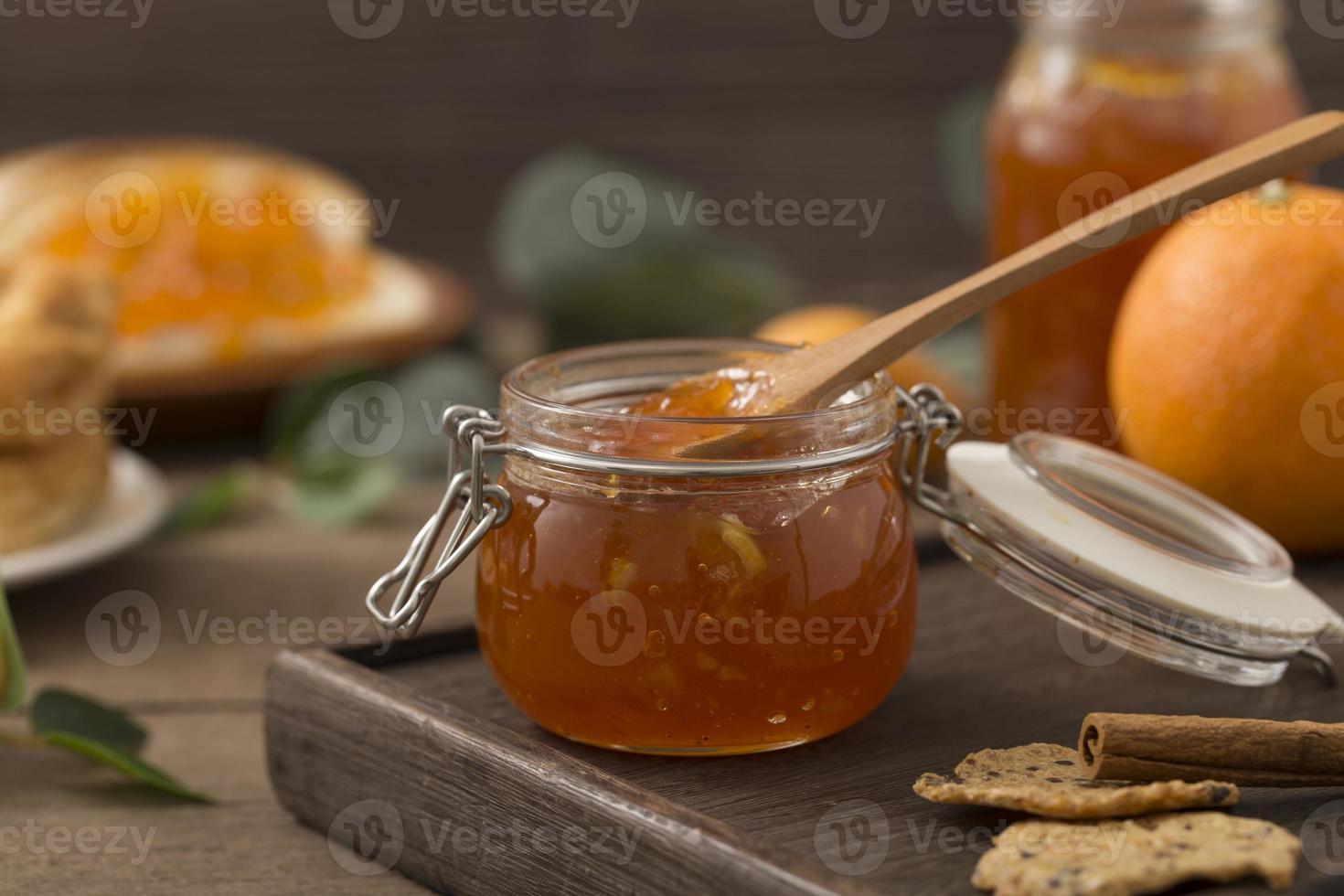 Organic homemade marmalade with spoon photo