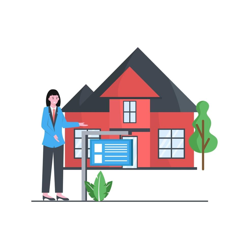 Flat vector illustration of property home and real estate ads display sellers and buyers