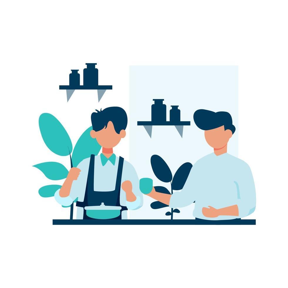 Baristas working in a coffee shop vector