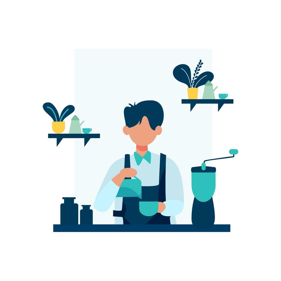 Barista working in a coffee shop vector