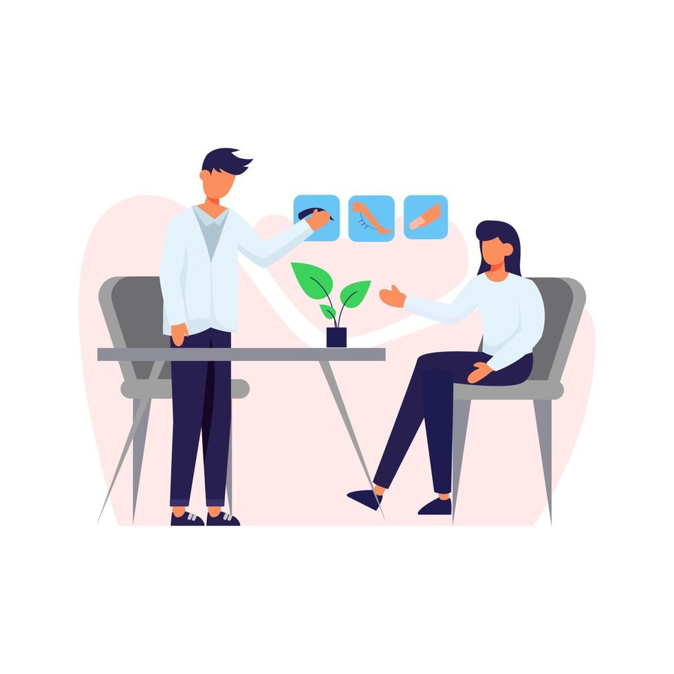 A patient in a consultation about body care vector illustration