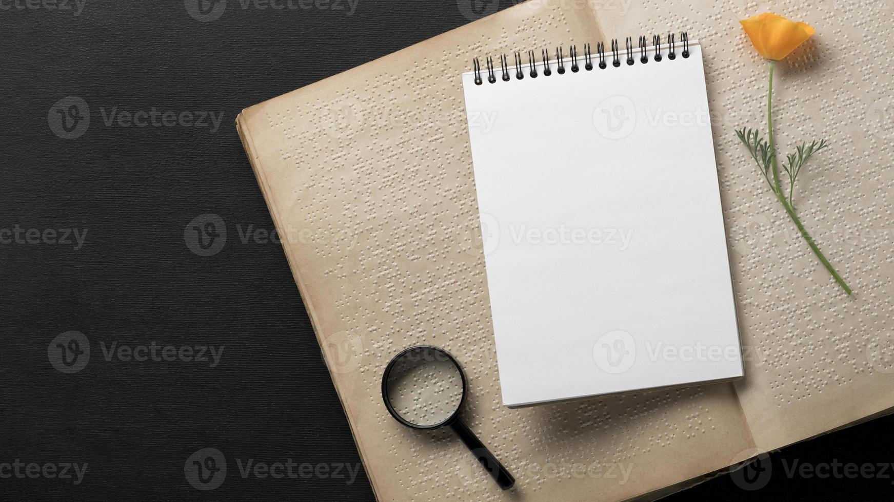 Top view notebook braille book photo