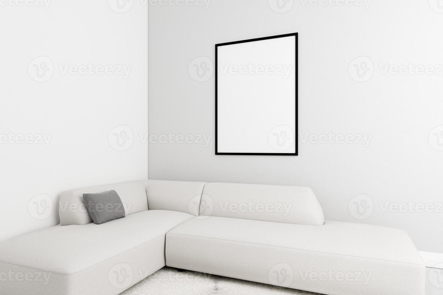 interior minimalista con elegante marco y sofá foto
