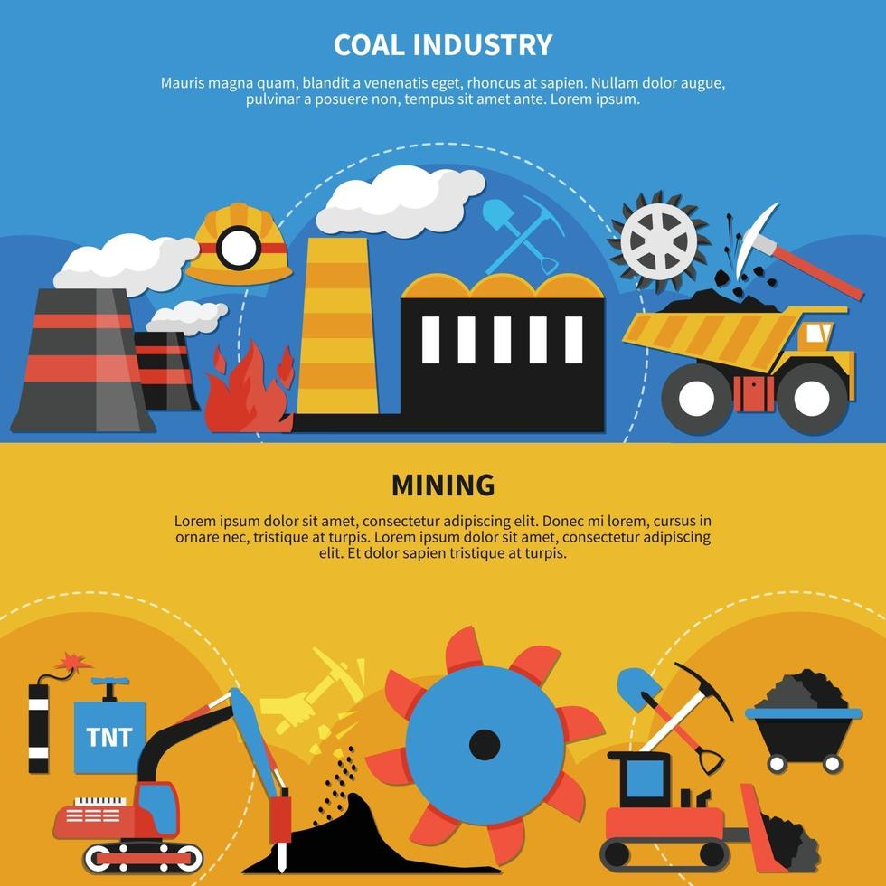 Mining Industry Banners vector