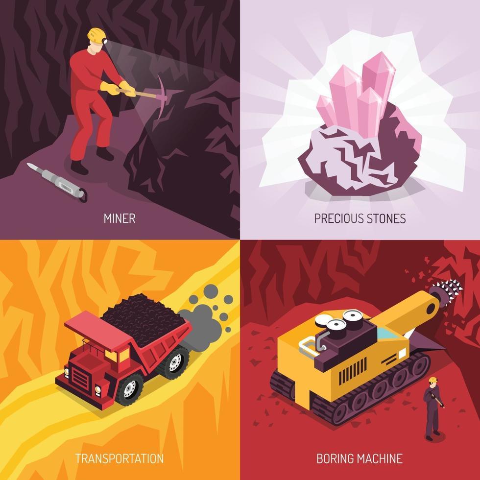 Gems Precious Stones Mining Concept Vector Illustration