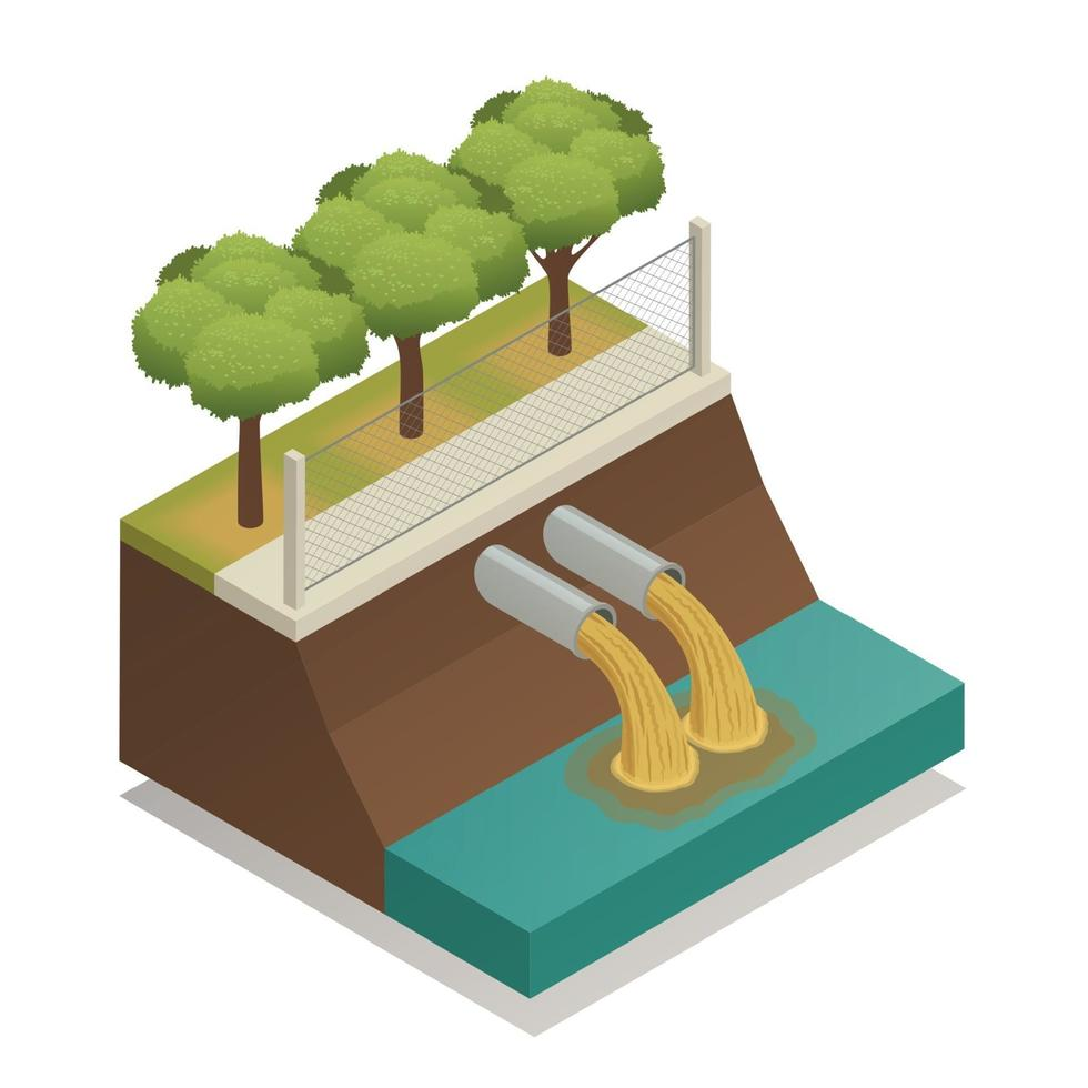Wastewater Treatment Ecological Isometric Composition Vector Illustration