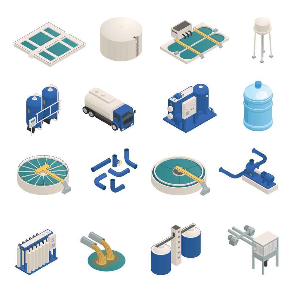 Wastewater Purification Isometric icons Set Vector Illustration