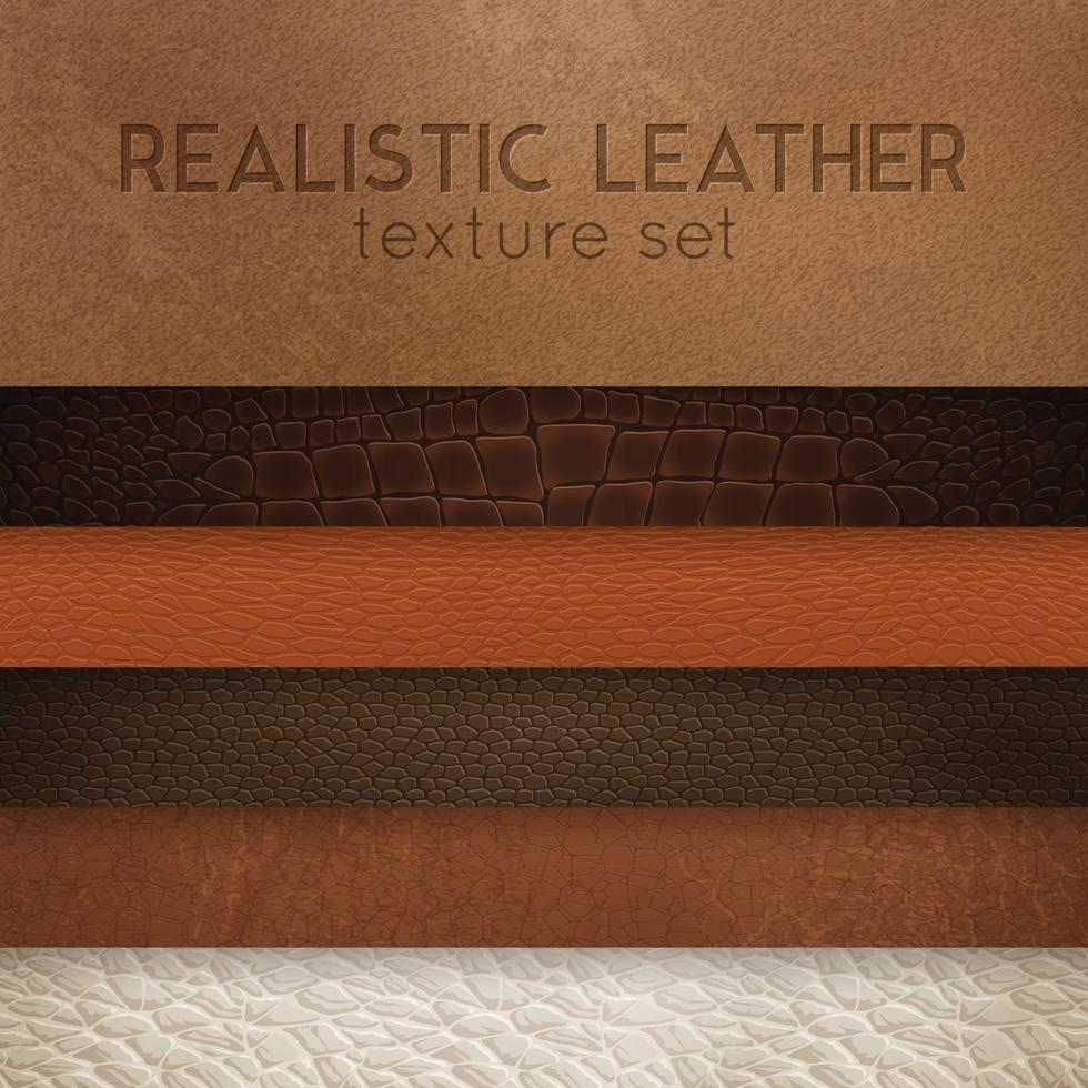 Leather Texture Realistic Samples Set Vector Illustration