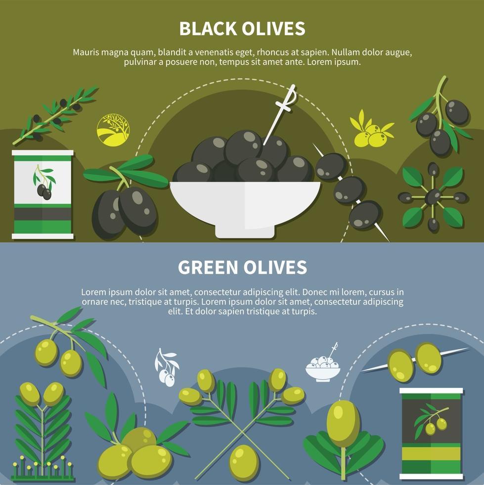 Olives Flat Banners Vector Illustration