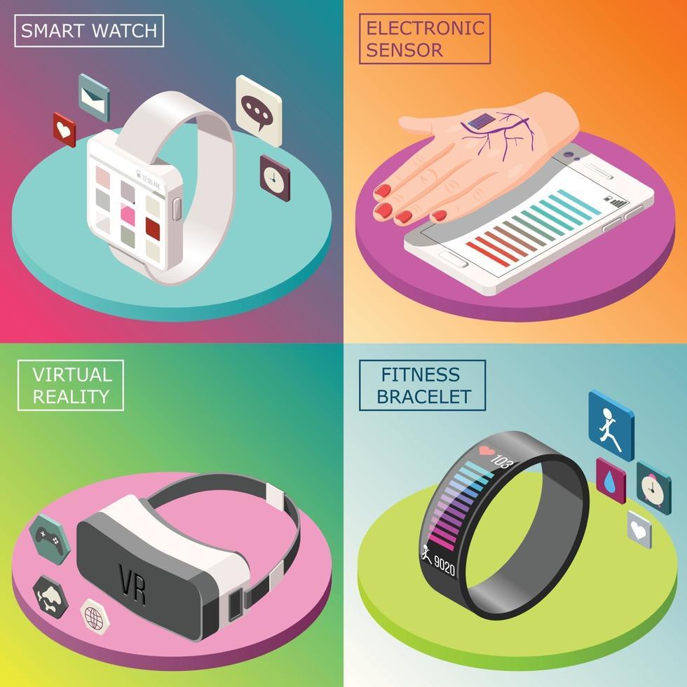 Portable Electronics Isometric Design Concept Vector Illustration