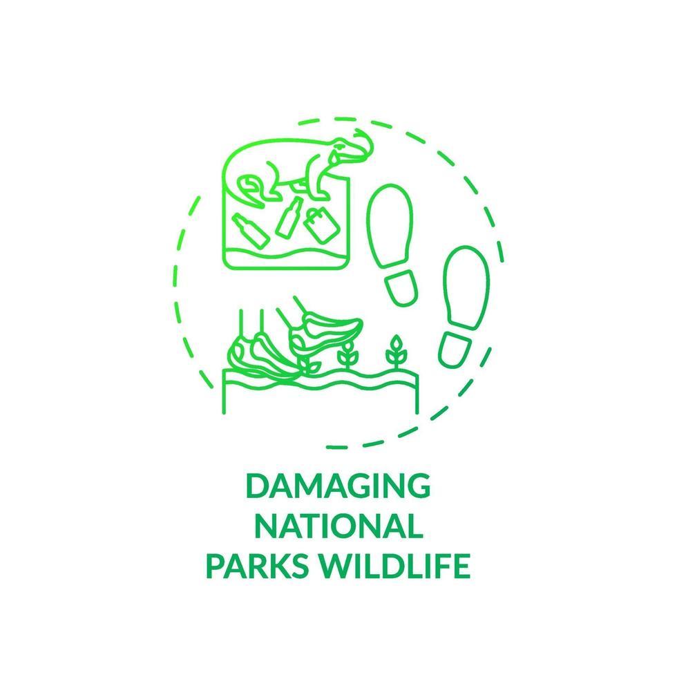 Dañar el icono del concepto de vida silvestre de los parques nacionales vector