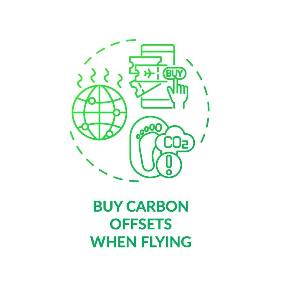 comprar compensaciones de carbono al volar el icono del concepto vector