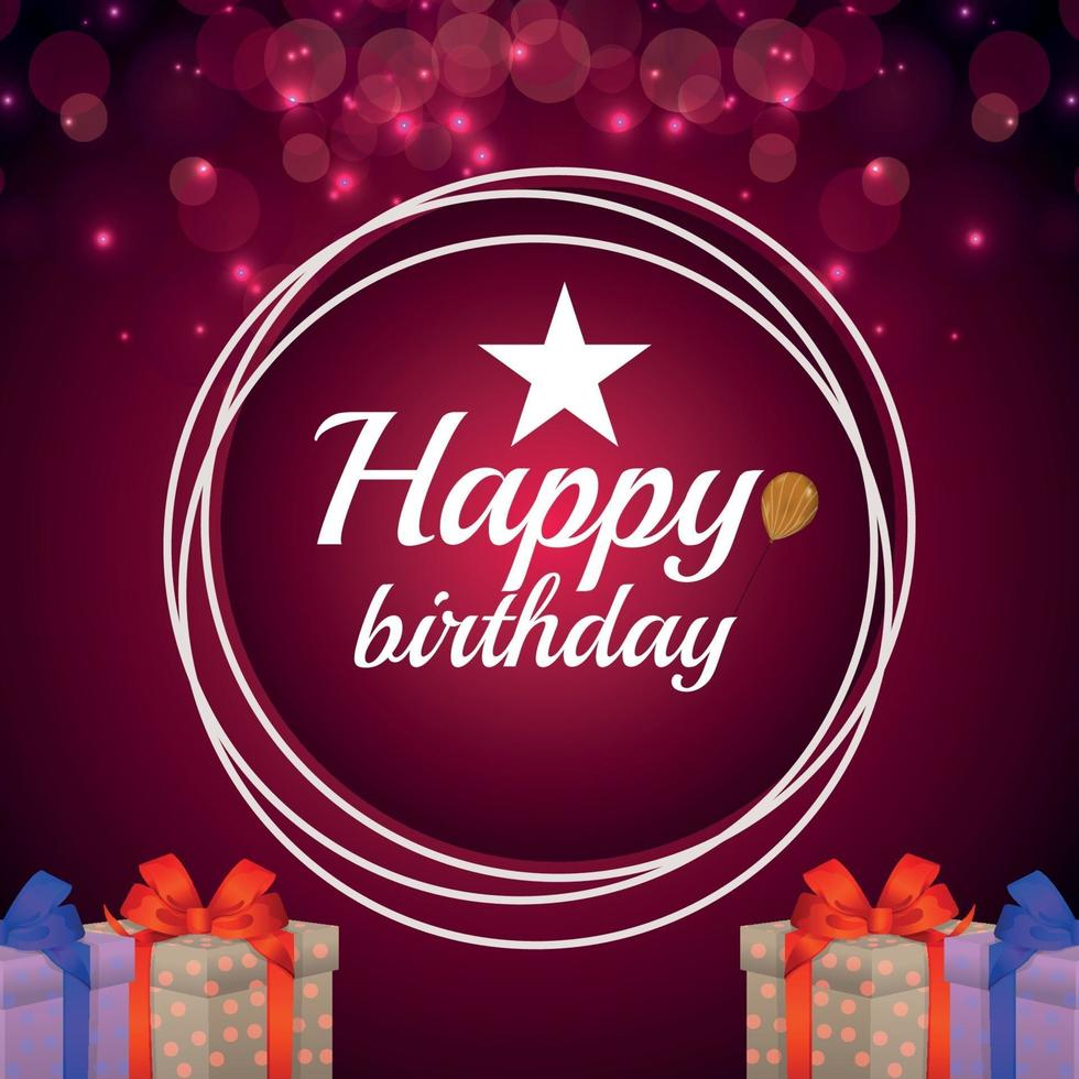 Happy birthday invitation greeting card with gifts vector