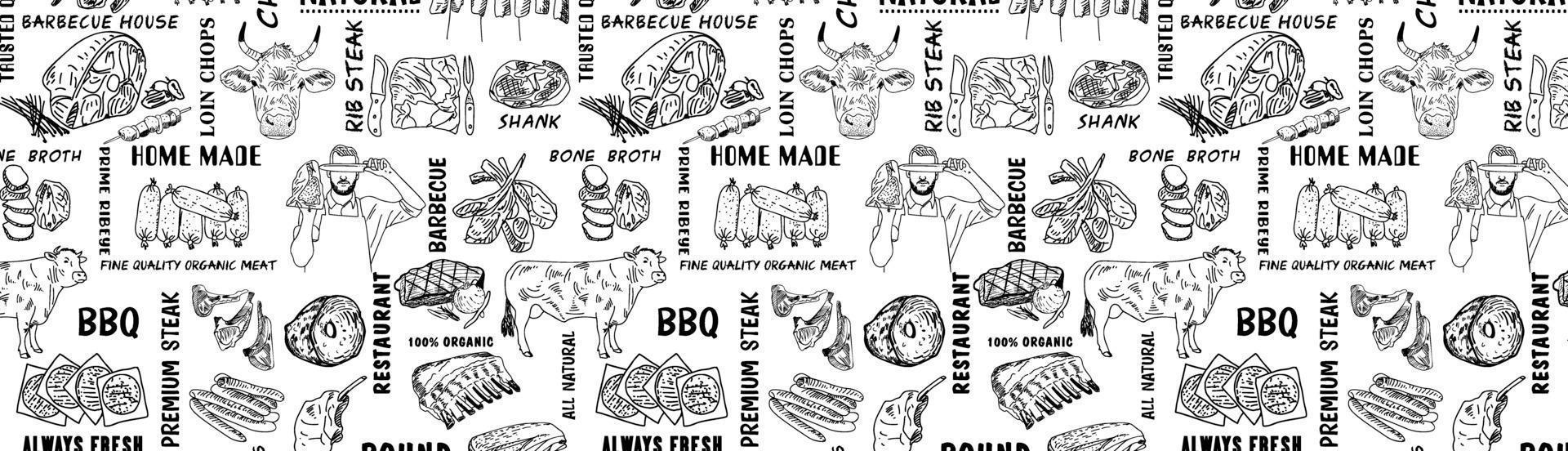 Hand drawn Meat products pattern. Vintage design template, banner. Vector. vector