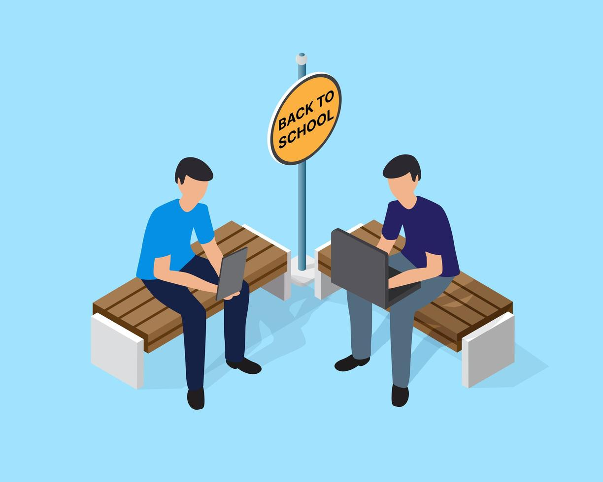 Back to school vector illustration with pupils and students sitting on a bench near the school