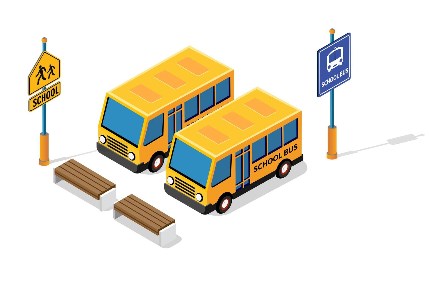 School bus on the street parking lot for schoolchildren and students. Vector illustration of study education.