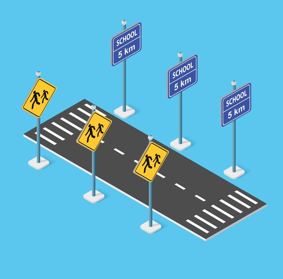 School roadway on the street parking lot for schoolchildren and students. Vector illustration of study education.