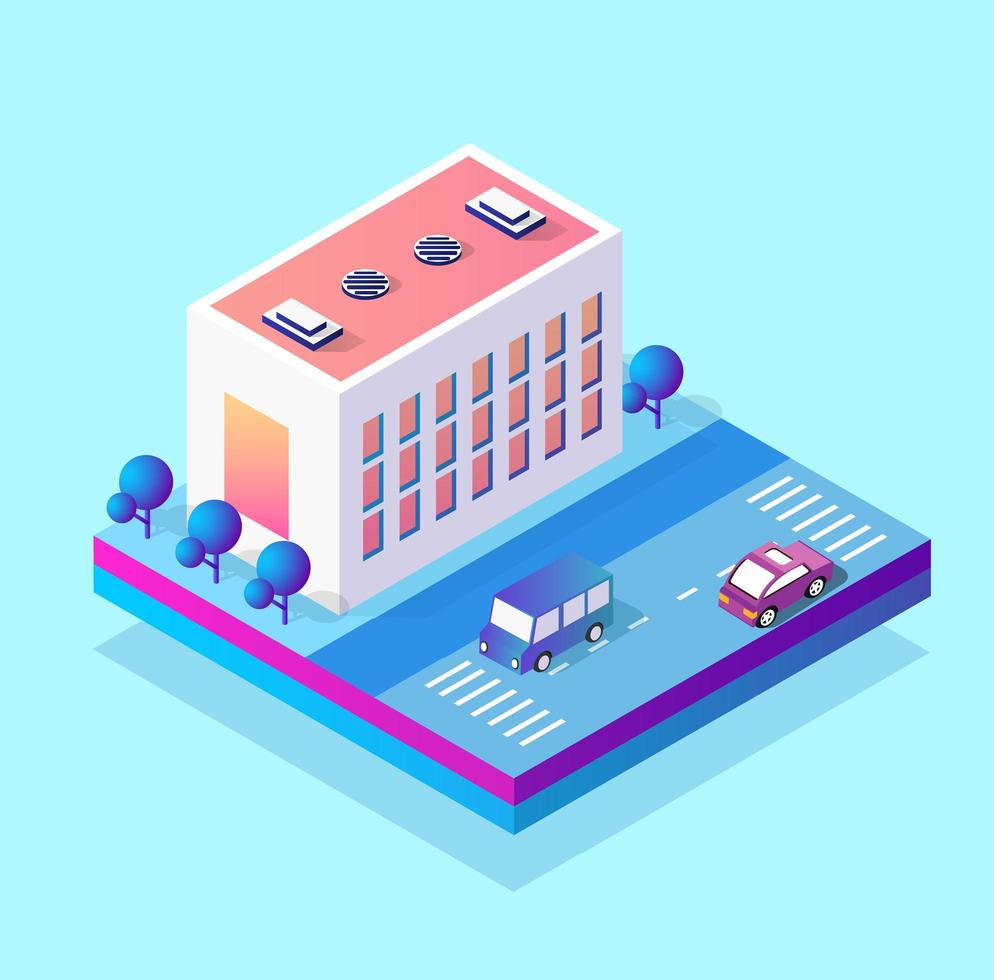 Isometric 3d module block district part of the city with a street road from the urban infrastructure of vector architecture. Modern white illustration for game design