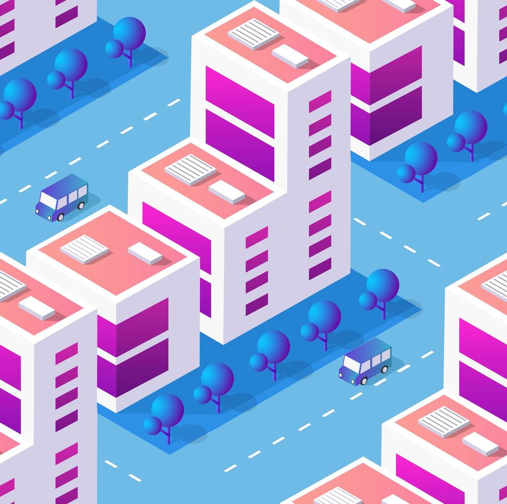 Architecture vector illustration city for seamless repeating background with isometric skyscraper, urban building, and modern cityscape for town construction map pattern