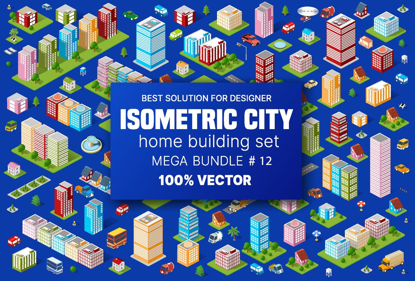 Isometric set building houses icons of blocks module of areas of the city construction, and designing of the perspective urban of design of the architecture environment vector