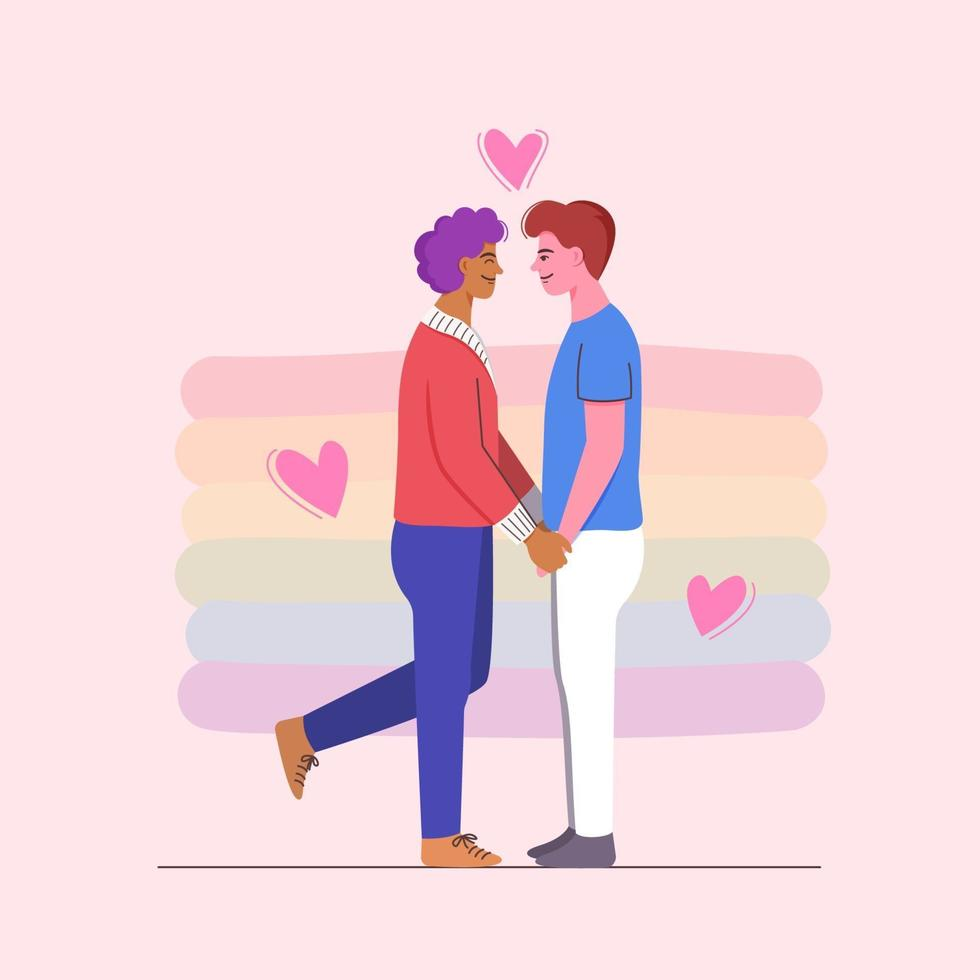 Two men holding hands on romantic date. LGBTQ community. vector