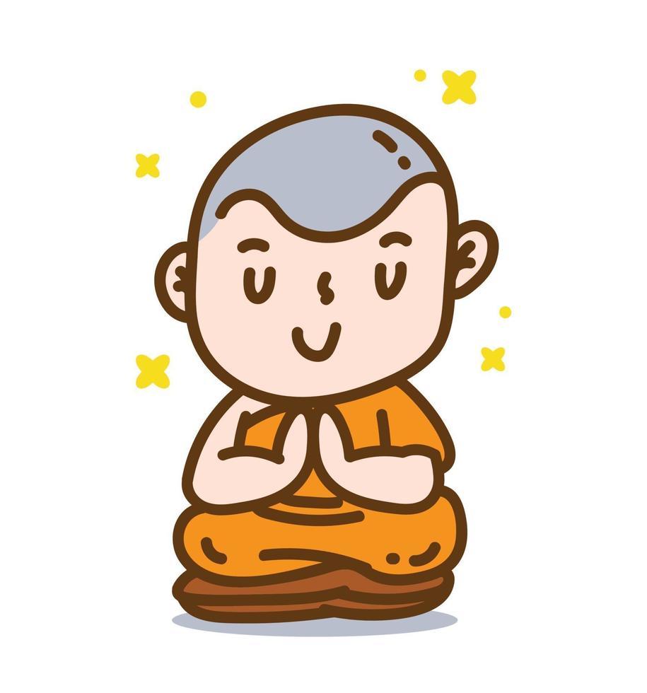 Buddhist monk meditation pose by sitting cartoon vector illustration.