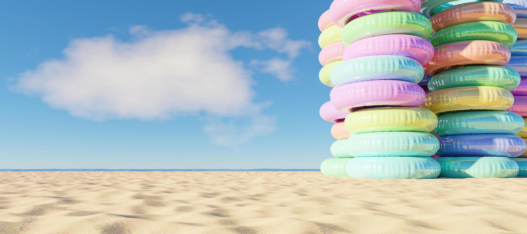 Tower of inflatable rings on the beach, 3d render photo