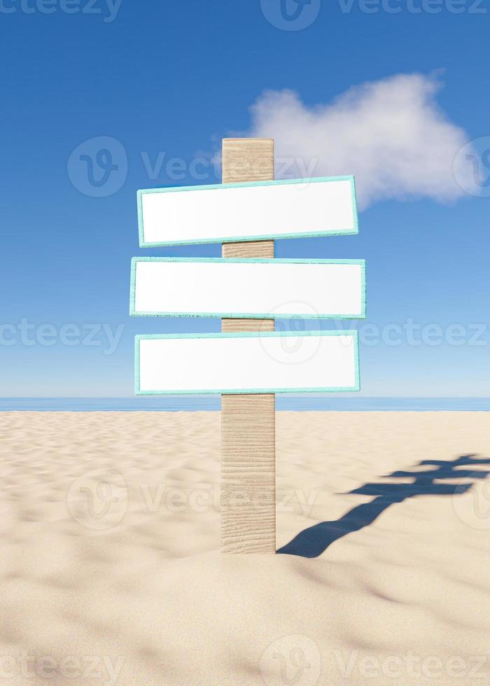 Mockup of wooden sign on the sand of the beach, 3d render photo
