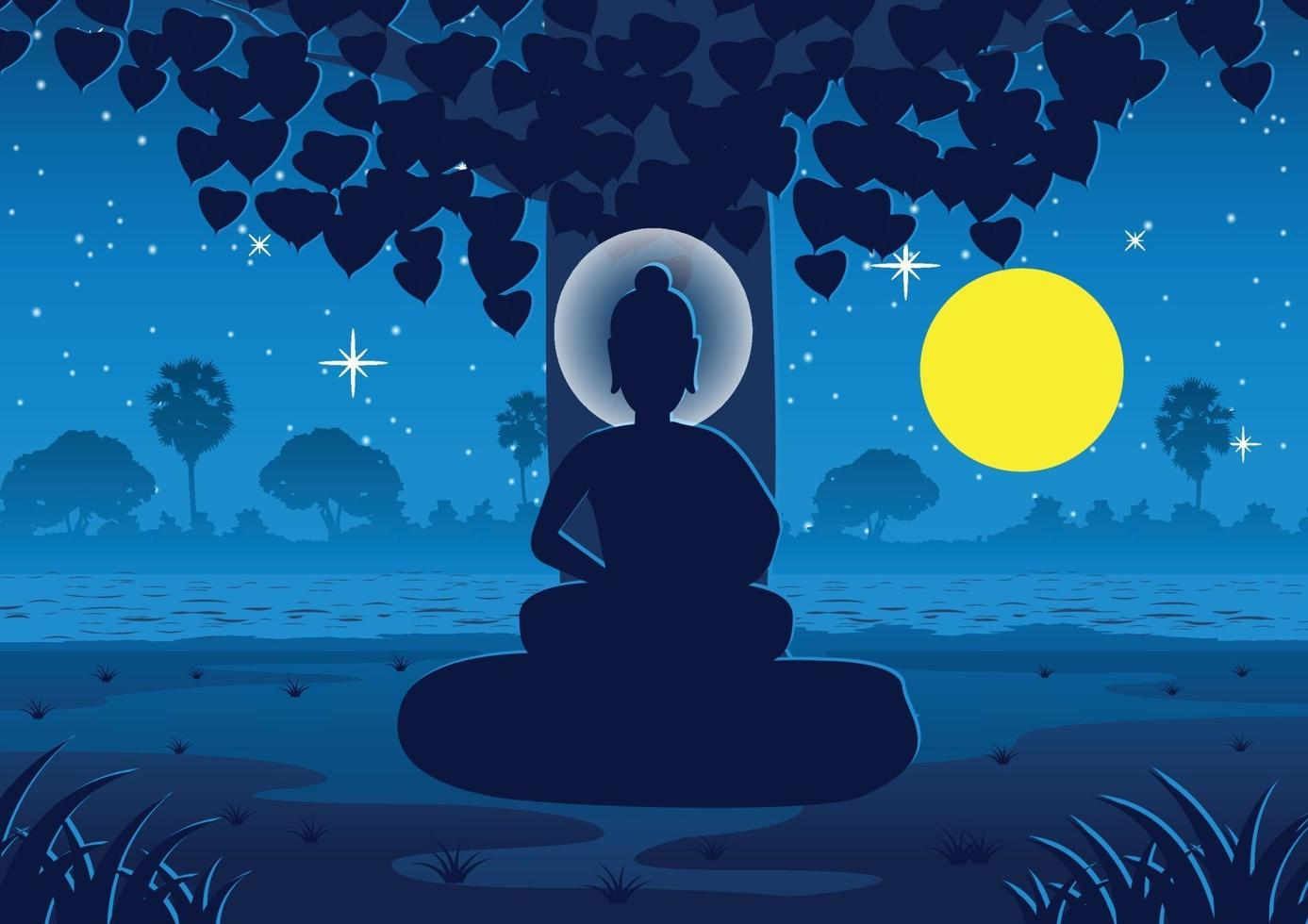 lord of Buddha becomes enlightened under tree on Full moon night near river in India vector