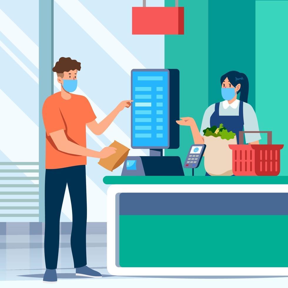 autoservicio en la tienda de comestibles vector