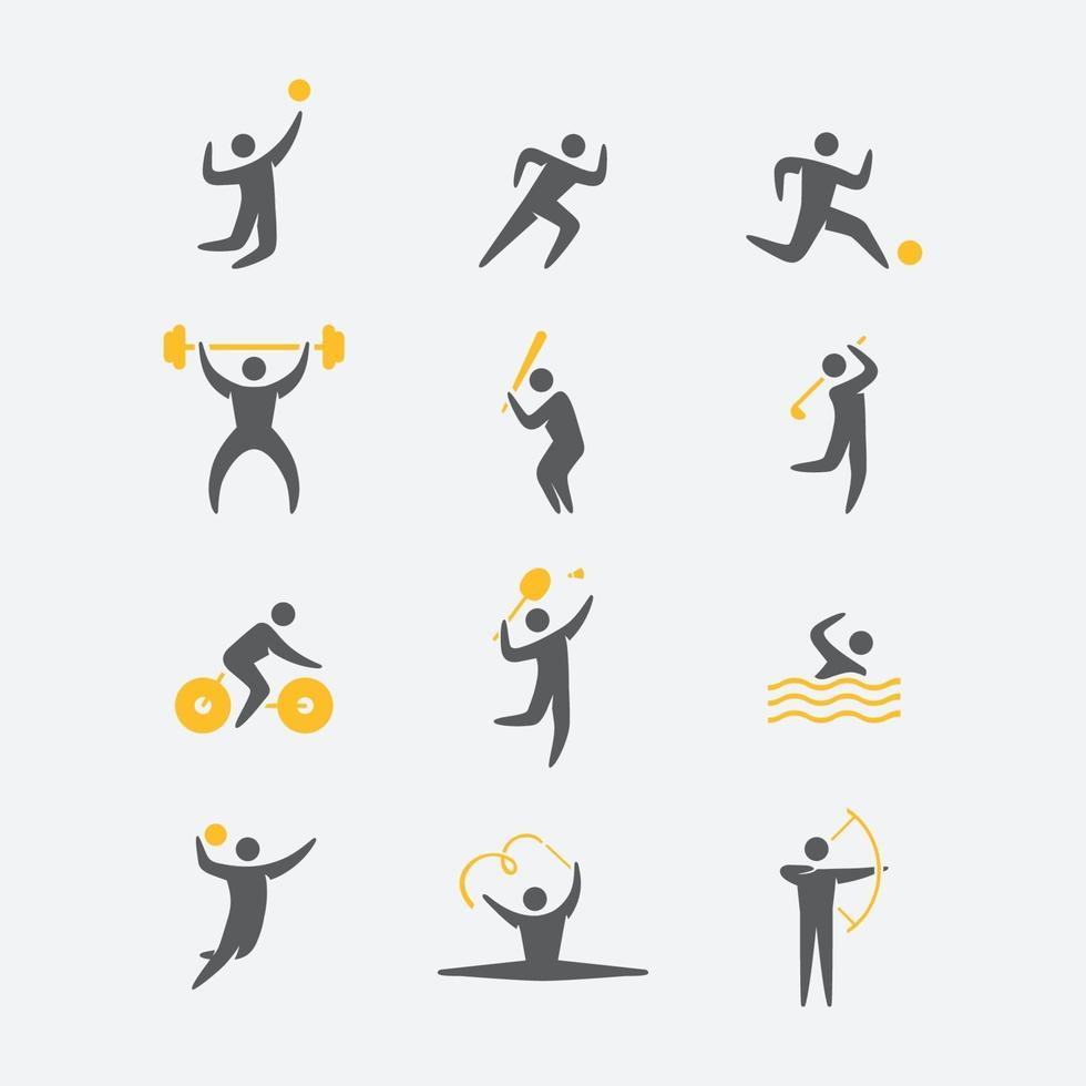 Simple Sport Action Icon Set vector