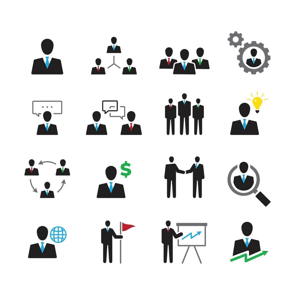 Business and People Icon Set vector