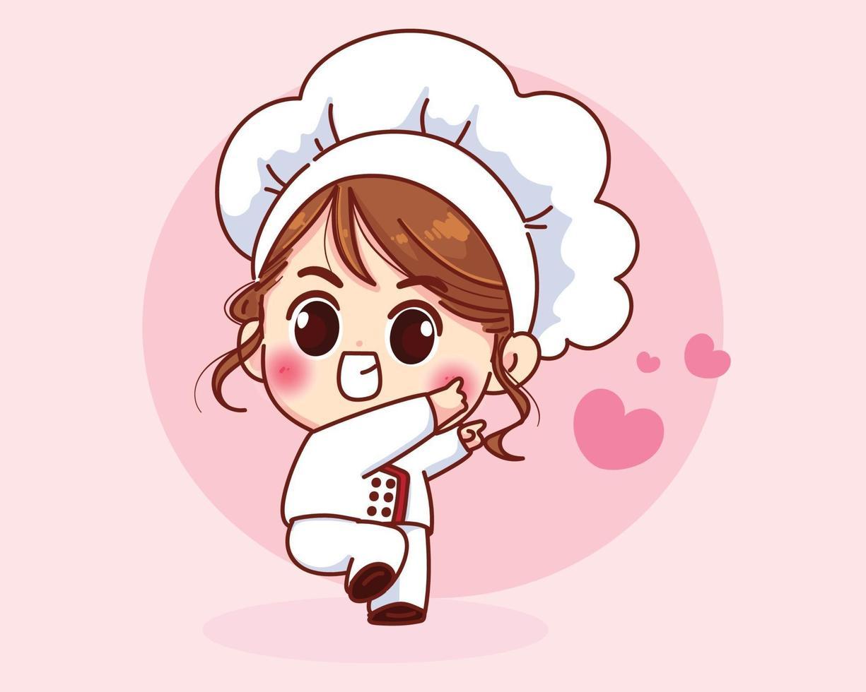 Cute chef girl smiling in uniform welcoming cartoon art illustration vector