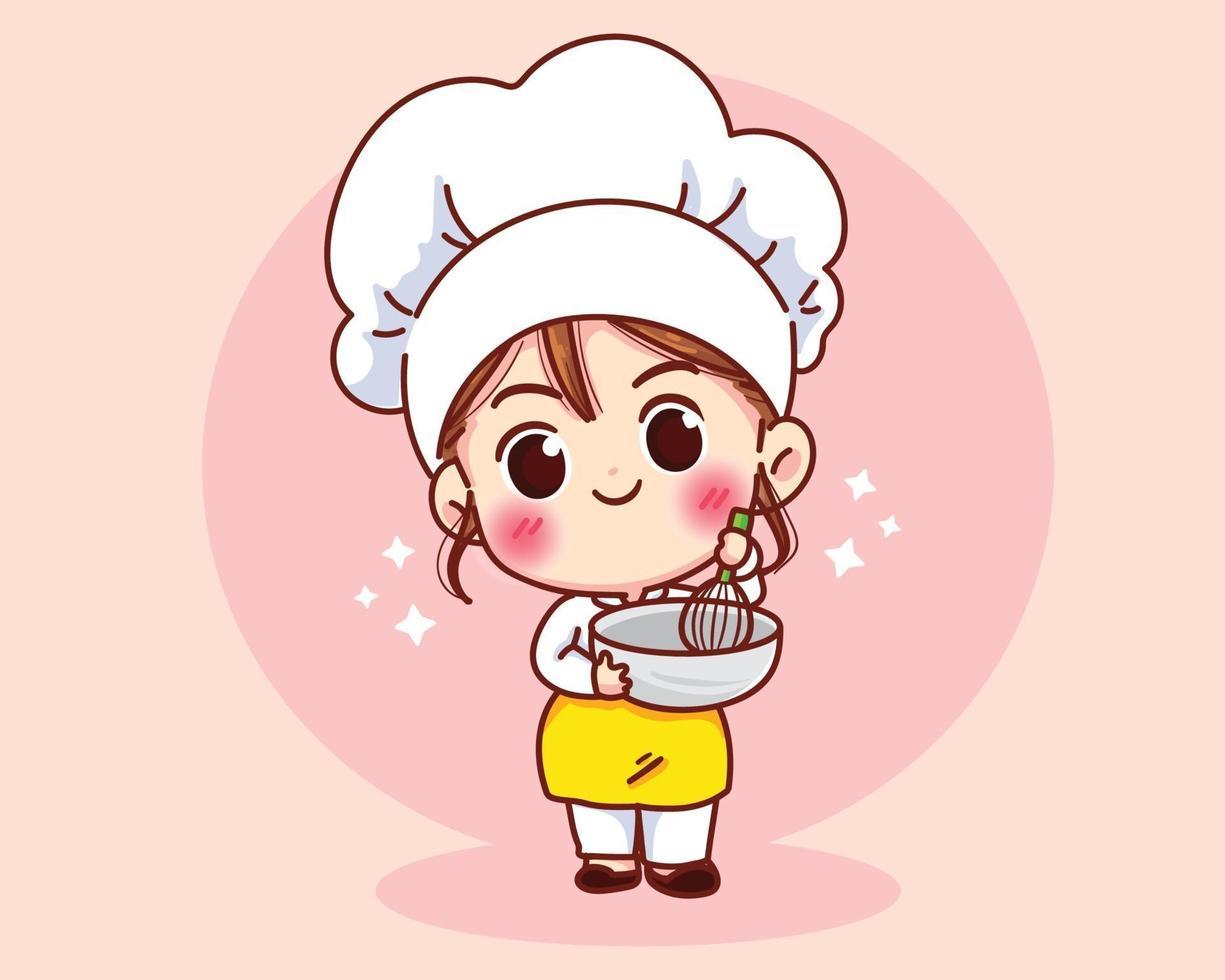 Cute Bakery chef girl smiling in uniform mascots cartoon art vector