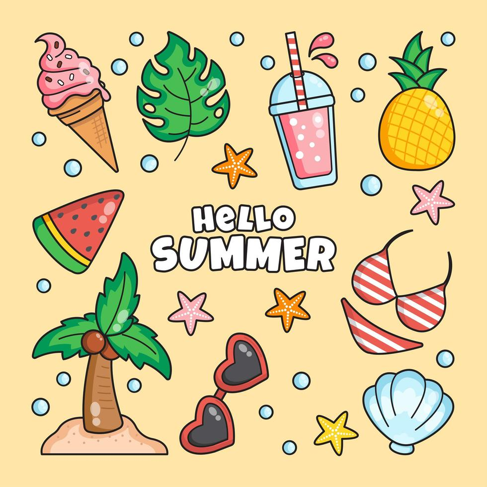 Clutter of Summer Related Things vector