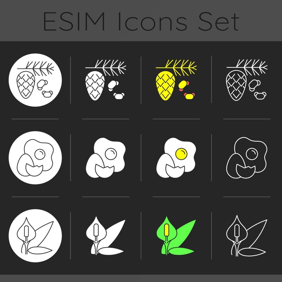 Cause of allergic reaction dark theme icons set vector