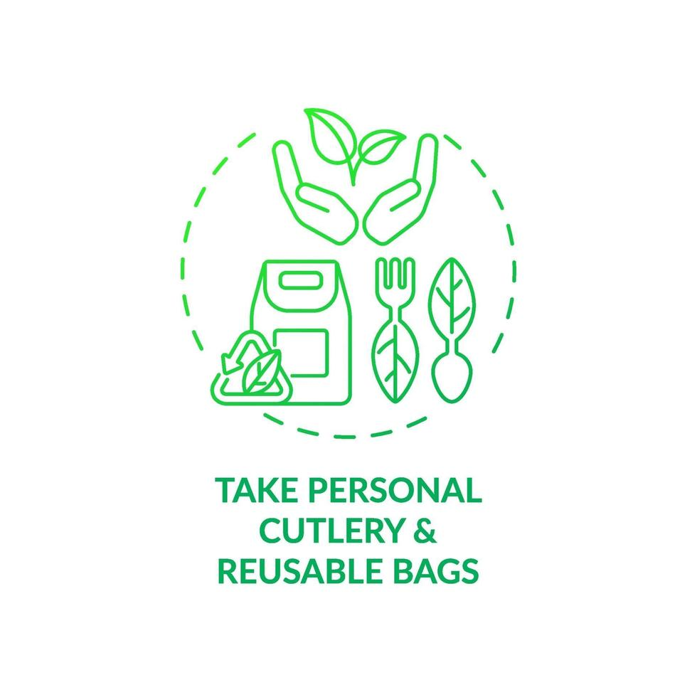 tomar cubiertos personales y bolsas reutilizables concepto icono vector