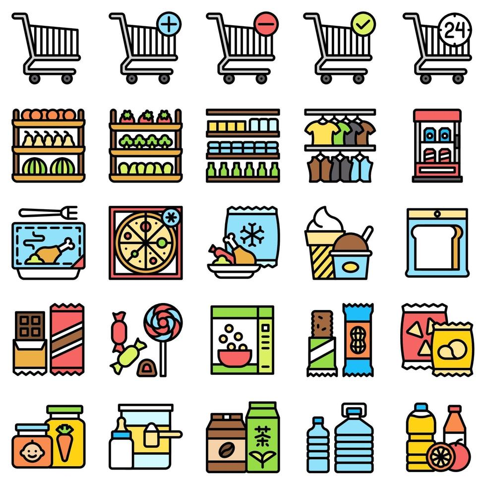 Supermarket and Shopping mall related icon set, fiiled style vector