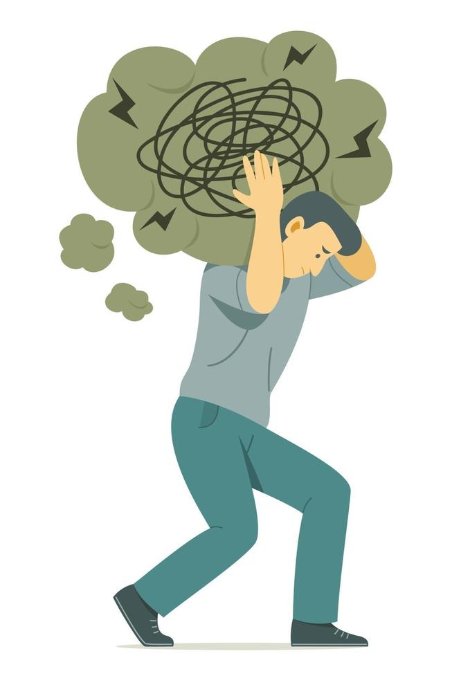 Man Carrying the Big Thinking Bubble Symbol of Confusion on Shoulder. vector