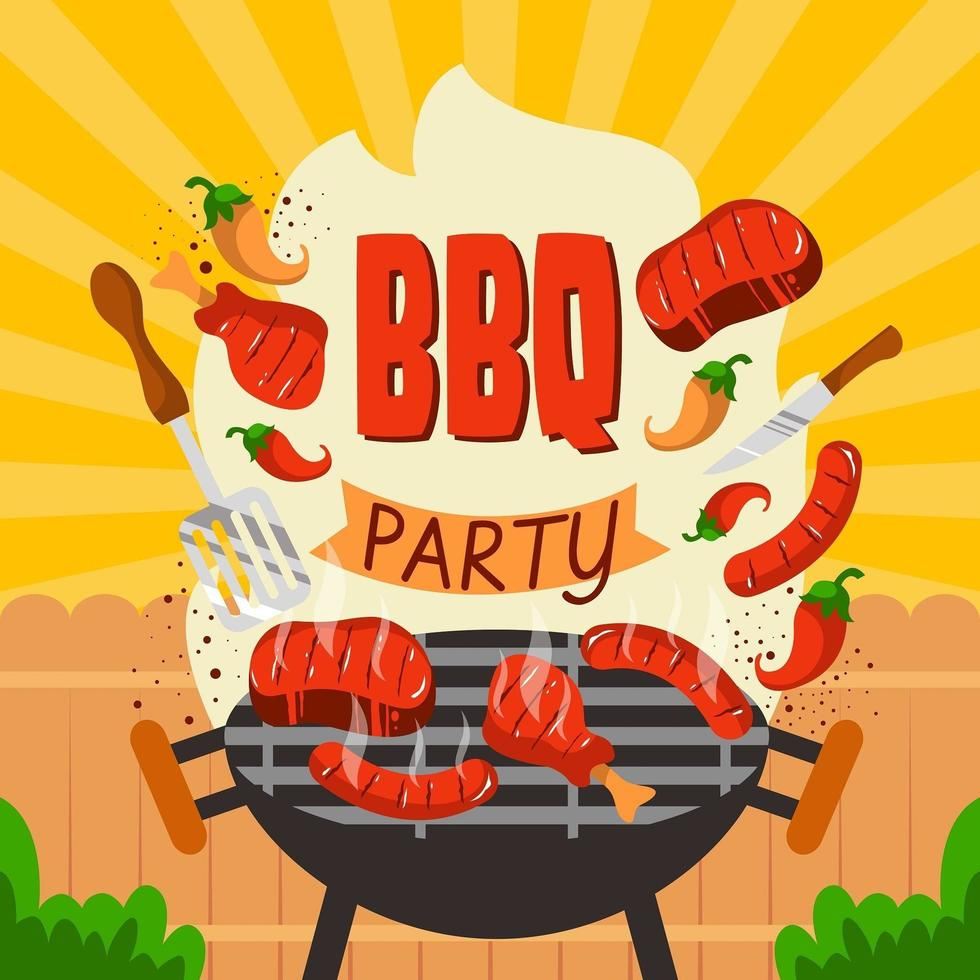 Backyard  BBQ Party Background vector